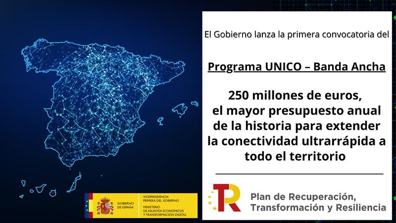 El Gobierno lanza la primera convocatoria del Programa UNICO – Banda Ancha,  dotada con 250 millones de euros
